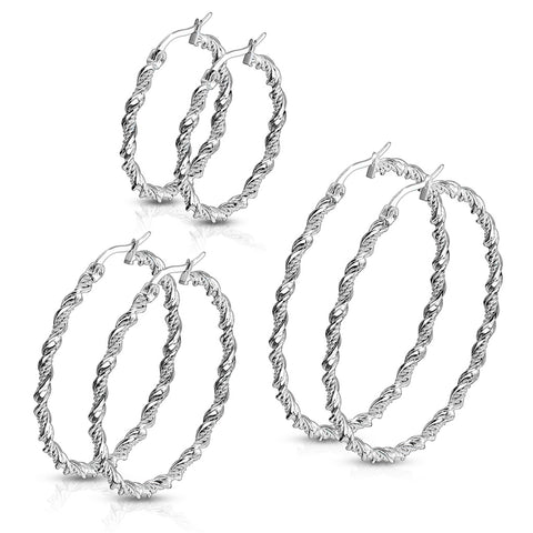 Stainless Steel Braided Hoop Earrings