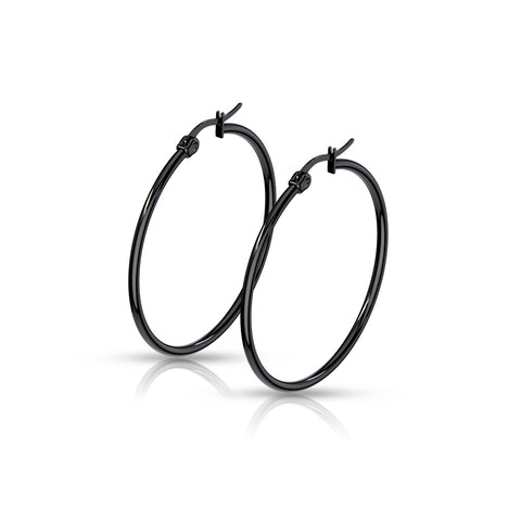 Stainless Steel Black IP Hoop Earrings