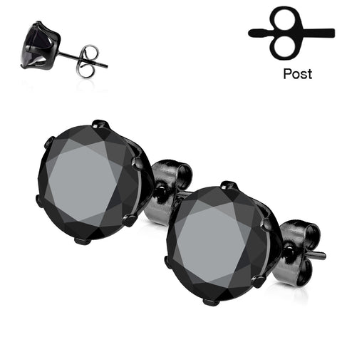 Stainless Steel Stud Earring with Round Black CZ