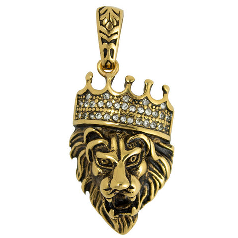Stainless Steel Gold PVD Lion with CZ Crown Pendant Necklace