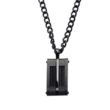 Stainless Steel Black IP & Black Cable Inlayed Dog Tag Pendant