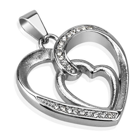 Stainless Steel Pendant with Multi CZ Paved Loop of Hearts Hollow