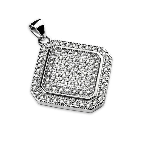 Gem Paved Square Diamond Shaped Stainless Steel Pendant Necklace