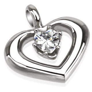Stainless Steel Pendant with CZ Round Heart with Prong Set