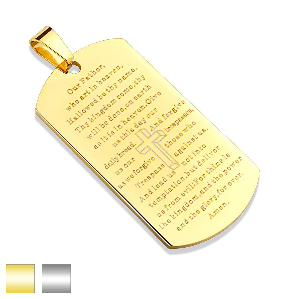 Stainless Steel Lord's Prayer Dog Tag Pendant