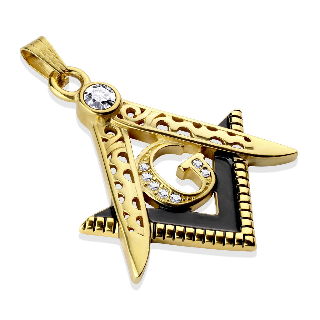 Two Tone Masonic Stainless Steel Pendant with Crystals-GD