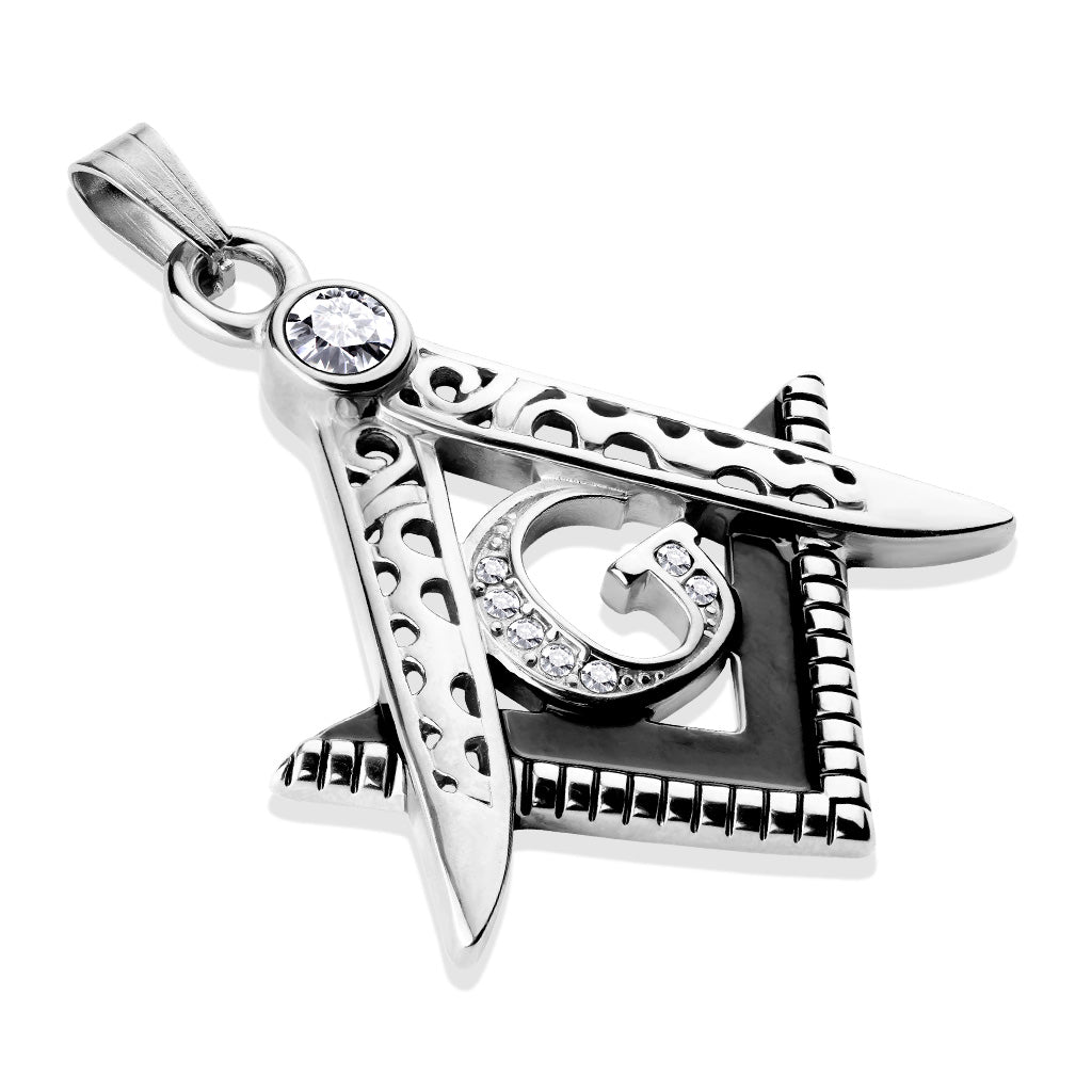 Two Tone Masonic Stainless Steel Pendant with Crystals-ST