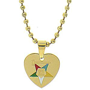 Stainless Steel Eastern Star Heart Necklace w/Gavel-Gold