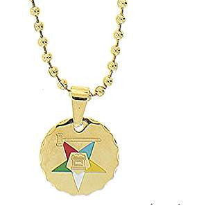 Stainless Steel Eastern Star Round Necklace w/Gavel-Gold