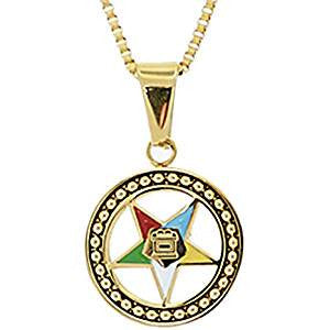 Stainless Steel Eastern Star Pendant Necklace-Gold