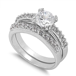 Stainless Steel Wedding Ring with Clear CZ