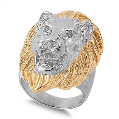 Stainless Steel Lion Head Ring with Gold Plating