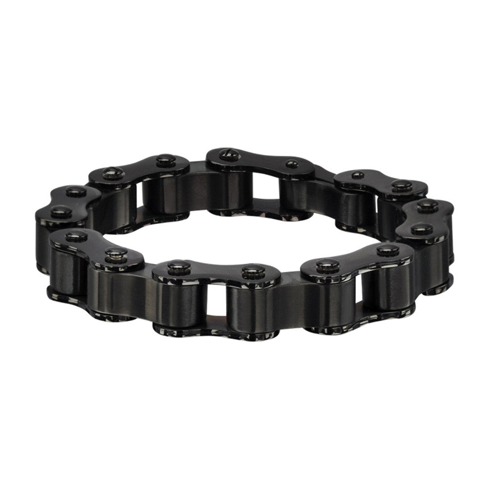 Men's Stainless Steel Black PVD Motor Chain Matte & Polished Bracelet
