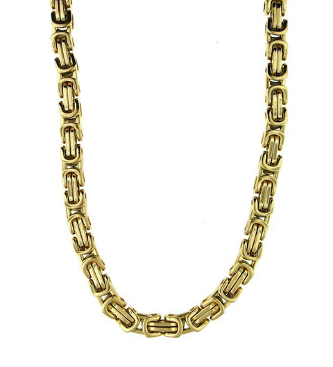 Stainless Steel Gold Byzantine Bracelet & Necklace