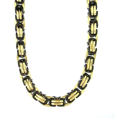 Stainless Steel Black/Gold Byzantine Bracelet & Necklace