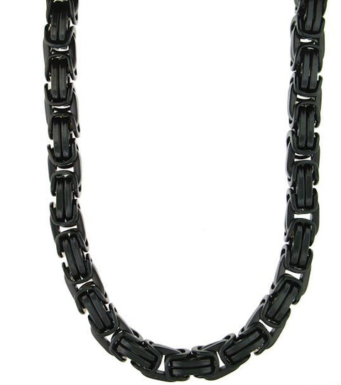 Black Stainless Steel Byzantine Necklace