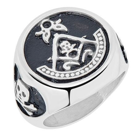 Stainless Steel Skull Masonic Ring
