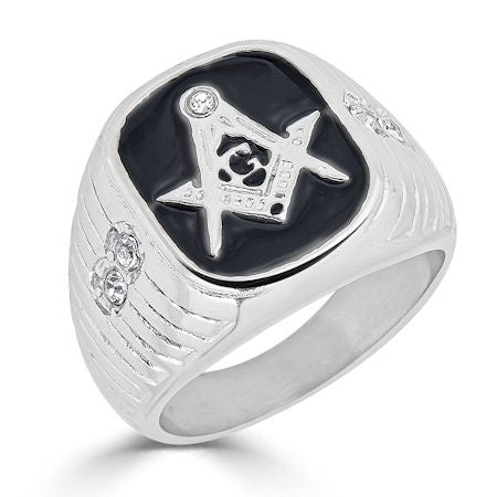 Stainless Steel Masonic CZ Ring