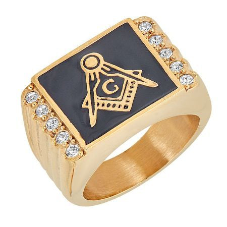 Stainless Steel Gold Masonic Ring with CZ