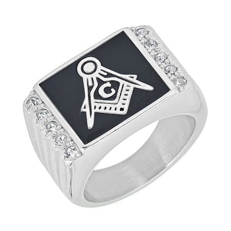Stainless Steel CZ Masonic Ring