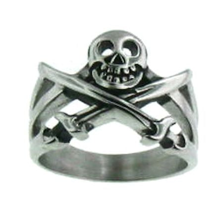 Stainless Steel Skull Crossbones Ring