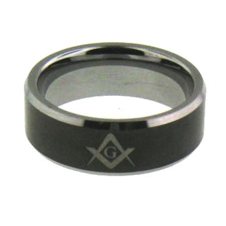 Tungsten Black Masonic Ring