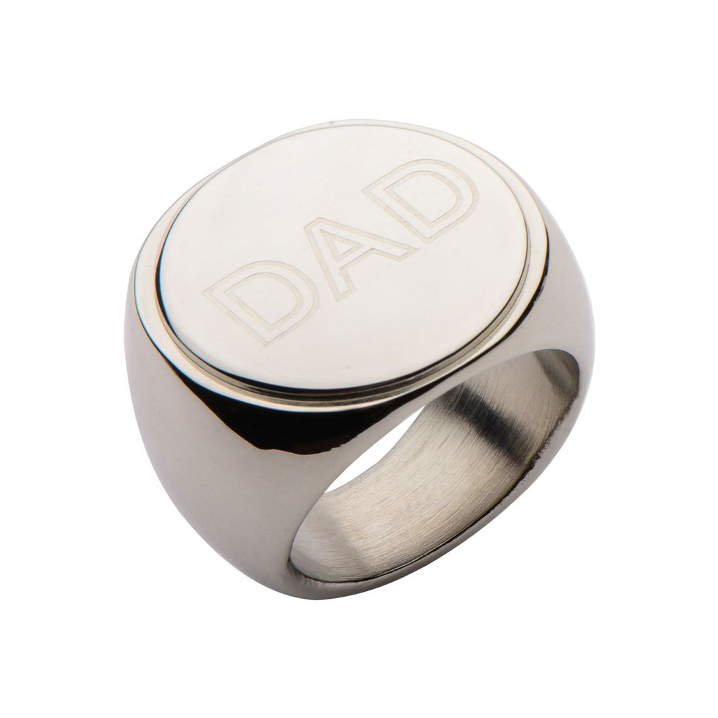 Stainless Steel Round Top Engraved DAD Ring