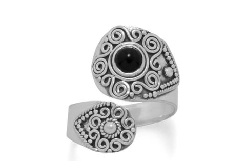 Sterling Silver Black Onyx Wrap Ring