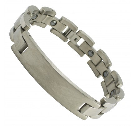 Titanium Link Bracelet with Curved ID Plate for Engraving