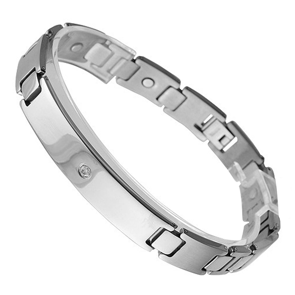 Titanium Magnetic Bracelet with ID Plate and CZ Stone
