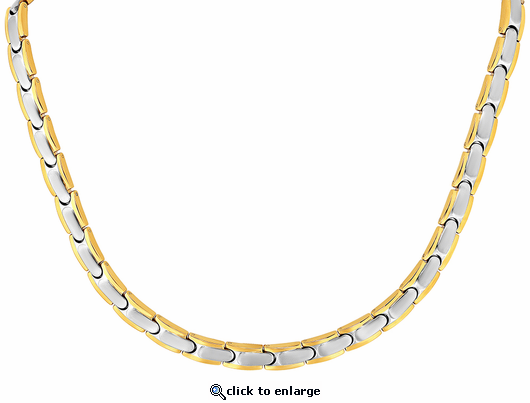 Stainless Steel Magnetic 2-Tone Therapy Necklace