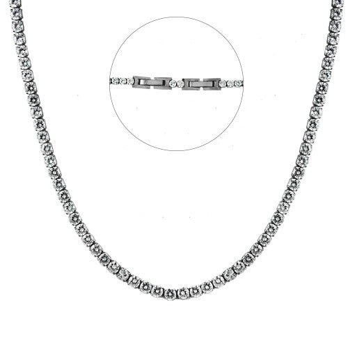 Women's Stainless Steel Tennis Necklace
