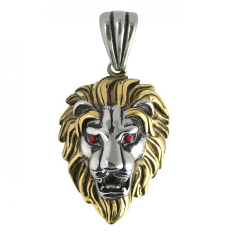 Stainless Steel Two Tone Lion with Red CZ Eyes Pendant Necklace