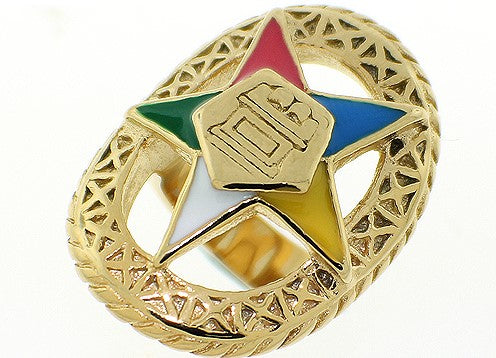 Stainless Steel Eastern Star Ring - Gold
