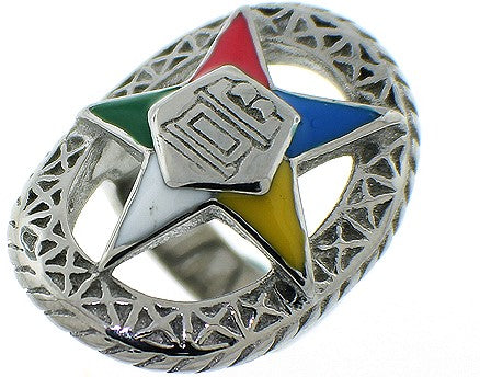 Stainless Steel Eastern Star Ring-Silver