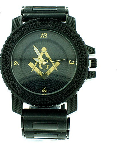 Masonic Black Pave Look Watch with Bullet Band