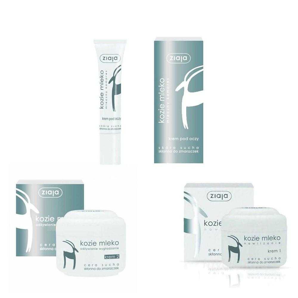 Cream - Ziaja Goat's Milk SET (Day Cream 50ml + Night Cream 50ml + Eye Cream 15ml) Anty Aging
