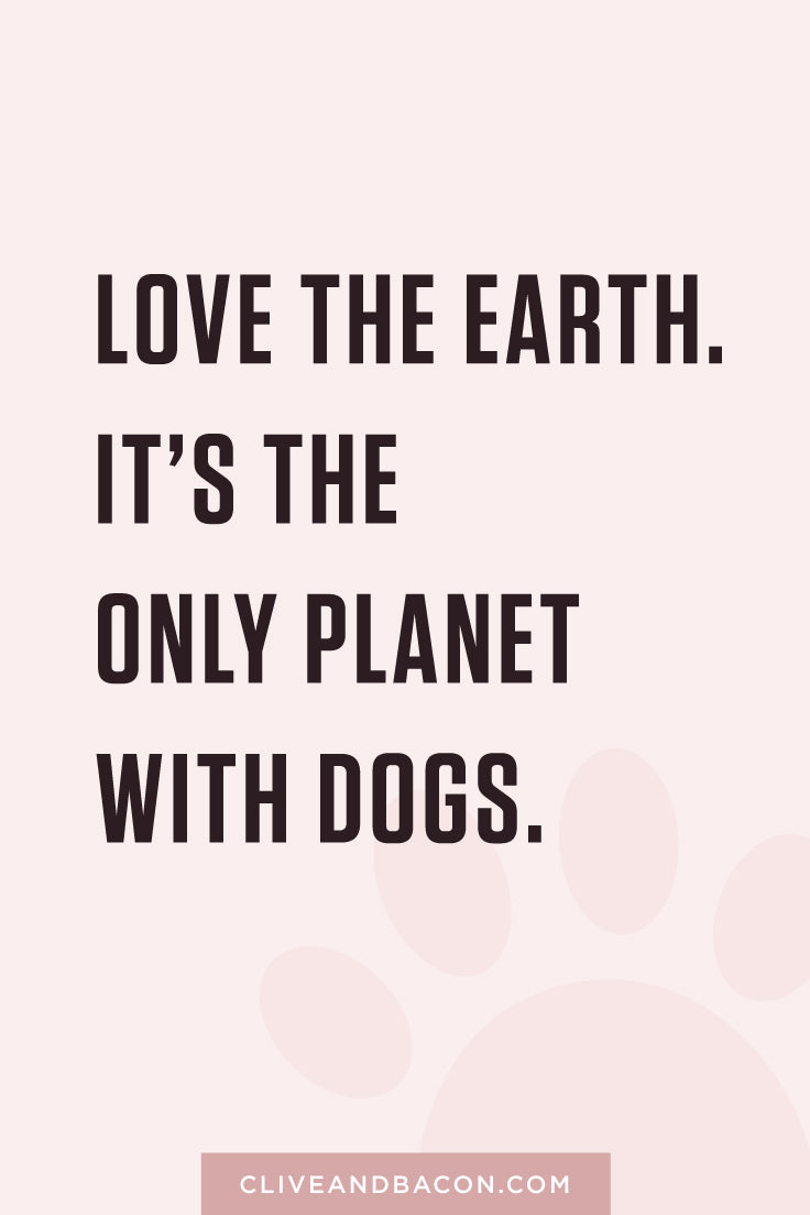Love the earth. It's the only planet with dogs. By Tina Chen, Clive & Bacon