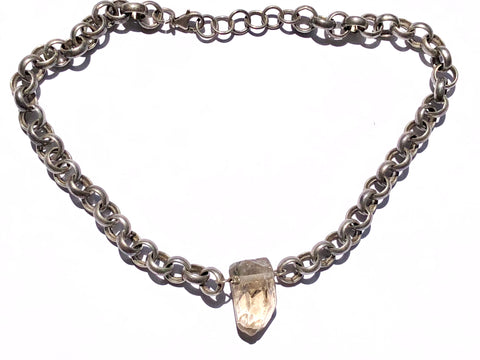 Bold Silver & Quartz Choker Necklace