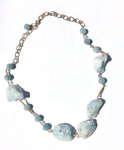 Raw & Polished Aquamarine Necklace