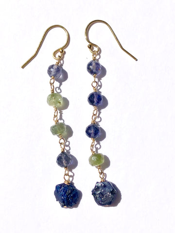 Iolite, Green Tourmaline & Sapphire Earrings - SOLD OUT