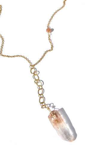 Natural Quartz on Multi Gold Chain Necklace