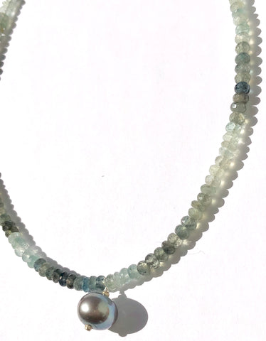 Moss Aquamarine & Pearl Choker Necklace