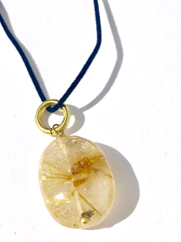 Rutilated Quartz on Blue Velvet Cord Necklace