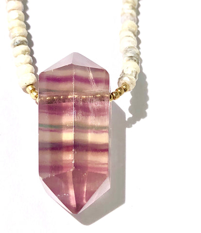 Large Fluorite on Silverite Necklace - SOLD OUT