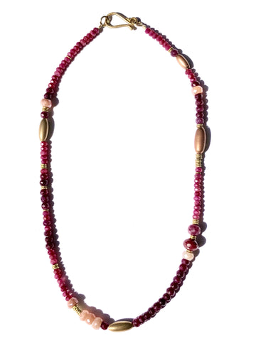 Shades of Pink Ruby and Brass Choker Necklace