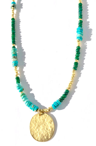 Blue Green & Gold Oh My Necklace