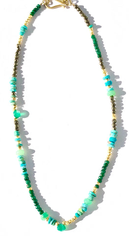 Emerald, Turquoise, & Green Onyx Choker Necklace