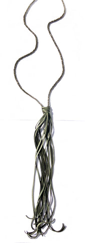 Extra Long Pyrite Tassel Necklace