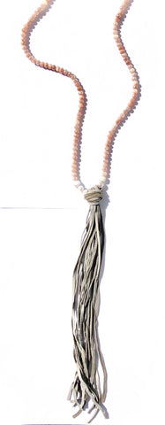 Pink Moonstone Tassel Necklace - SOLD OUT